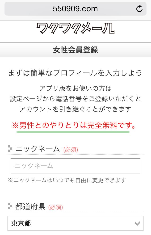 ワクワクメール女性登録で簡単なプロフ入力(1)